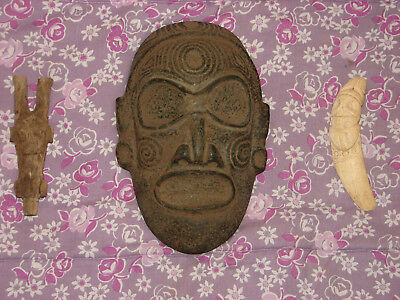 Taino Pre Columbian Stone Deity Head. High End Center Piece.