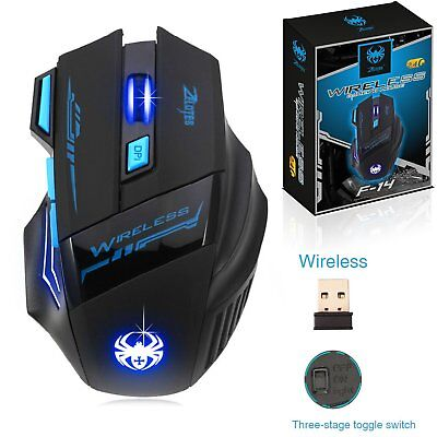 ZELOTES WIRELESS FUNKMAUS 2400DPI Gaming MOUSE 2,4G LED Computer PC Optisch TOP
