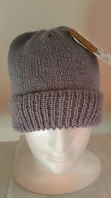 Hand Knitted Alpaca and Wool Mens or Womens Beanie Light Grey