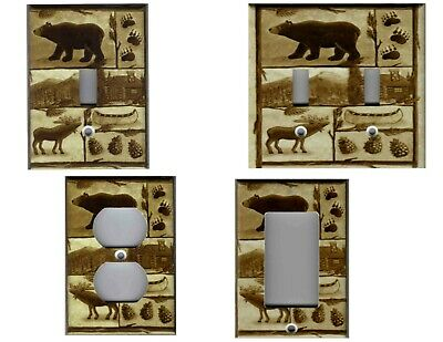 Bear Moose Cabin Rustic Brown Home Decor Light Switch Cover Plate