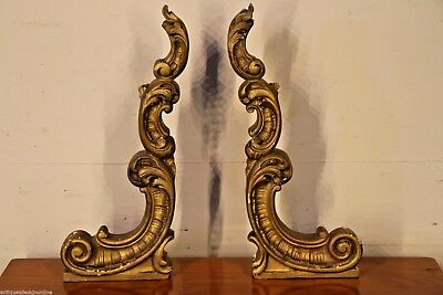 2 antique carved corbels in gold gilt walnut rococo wall brackets 1860 originals