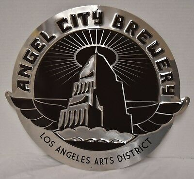 "Angel City Brewery 17.5"" X 16"" Embossed Metal Sign New"