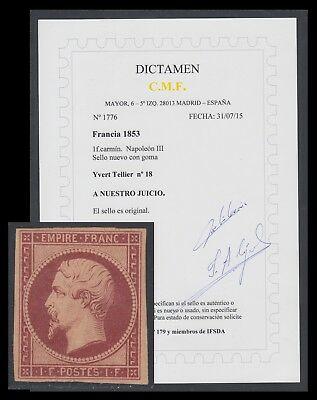 France France Nº 18 1862 Napoleon III MH + Opinion C.M.F