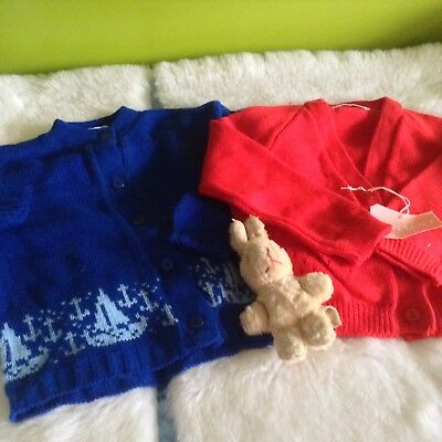 AUTHENTIC VINTAGE 1970s UNUSED BABY BOYS/GIRLS CHILDRENS CARDIGANS 6/9 months