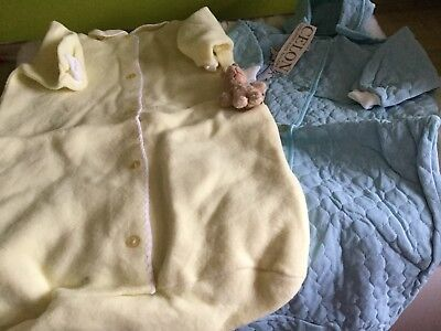 2 X AUTHENTIC VINTAGE 1970s UNUSED BABY INFANT SLEEP SUITS 3/6 M