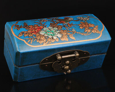 Blue Leather Jewelry Box Presents Retro Flower Birds Collection