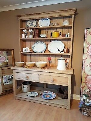 Antique Large Pine Dresser Old Farmhouse Country Kitchen Local Delivery Possible