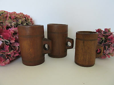 3 x Victorian Oak Grain Measures with Assay Marks - Rare Treen Decorators' Piece