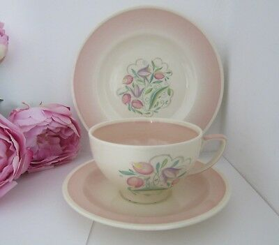Susie Cooper Trio in Pink Dresden Spray Cup, Saucer and Side Plate ... £9.95