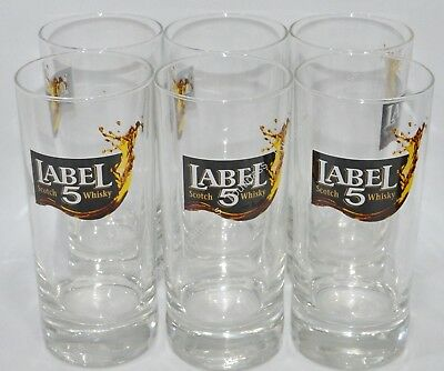"LABEL 5 WHISKY 6 Verres tube 20 cl ""splash"" NEUF"