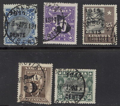 Liberia 1914 overprint complete set of five, used #129-33