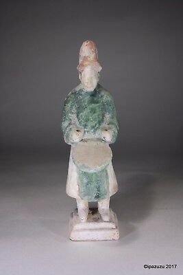 Antique Chinese Earthenware Drummer Figurine Tang Dynasty