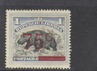 Liberia 1902, 75c on $1 hippo, THIN C and comma variety #91a WATERLOW