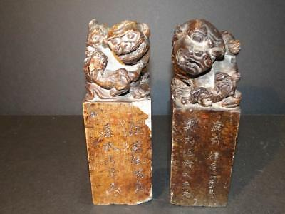 2 Antique Chinese Stone Carved Foo Do Stamp Seal Signets