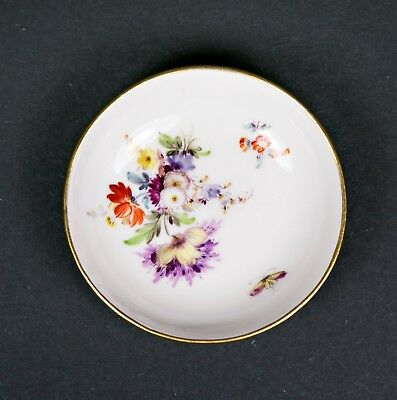 Meissen Porcelain floral butter pat trinket dish 19th century crossed swords