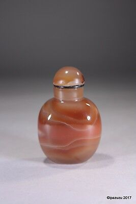 Vintage Chinese Orange Agate Snuff Bottle & Stopper