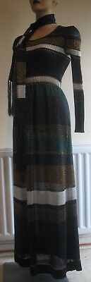 Vintage 1960s 70s Ian Peters knitted Metallic Maxi Dress with Scarf - Size 14