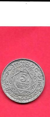 Morocco Moroccan French Y48 1951 Vf-Very Fine-Ncie Old Vintage 5 Francs Coin