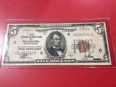 1929 $5 Five Dollars Federal Reserve Bank Note Philadelphia Pennsylvania