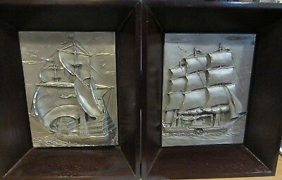 Pewter ships / sailboat carved / raised pictures - pewter - Italy