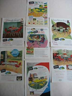 1950s VIRTUE CHROME DINETTE Sets (7) different SUNSET magazine ads