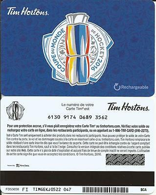 New World Cup Hockey 2016 Tim Hortons French Only Mint Gift Card From Canada