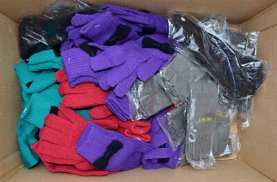50 Ladies Knitted Gloves Purple Red Green Grey Black *one Off* Wholesale Job Lot