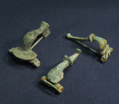 Lot of 3 Roman Bronze brooch / fibula #1