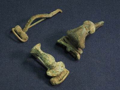 Lot of 3 Roman Bronze brooch / fibula #2