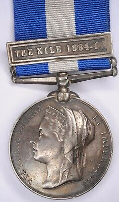British Army Egypt Medal Nile 1884-85 Clasp to 535 Pte T Bland 2 Essex Regiment