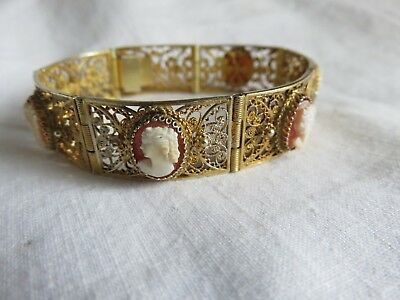 Vintage Silver Gilt Filigree Carved Shell Cameo 7 Panel Bracelet Rare