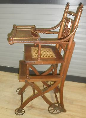 Victorian Oak Convertible Baby High Chair Stroller 1800's Antique 100 Year Old
