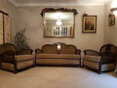 Vintage 3 Piece French Bergere Suite Sofa Settee and 2 Armchairs Rattan Chairs