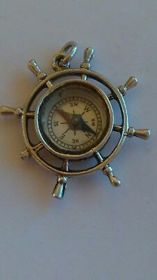Vintage Silver Compass watch fob Working.
