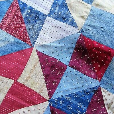 ANTIQUE 68 X 73 Quilt top Red Blue Silk/rayon Fabric Patriotic clothes Cutter