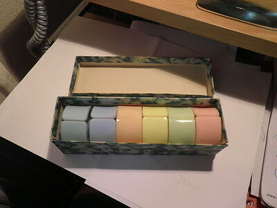 Vintage Retro 60s Boxed Set 6 Early Plastic Napkin Rings Different Colours Mint