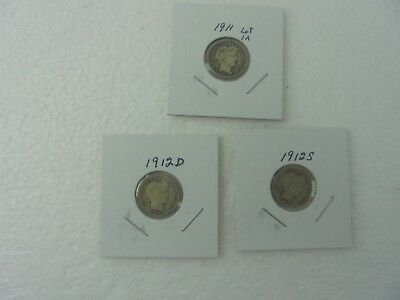 Lot of 3 Barber or Liberty Head Dimes 1911, 1912 D, & 1912 S   Circulated
