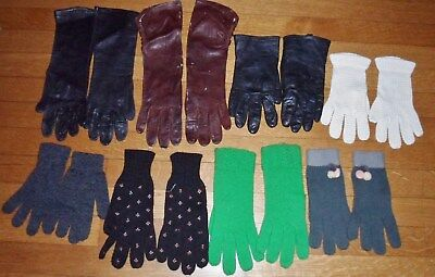 Vintage Lot Of Gloves 8 PAIRS Black Brown Leather And Green White Gray Woven