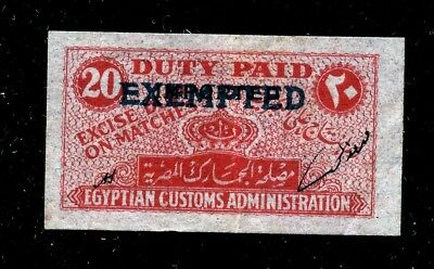 Egypt Matches Excise Duty Label Ovpd '' Exempted ''. Uncommon.  A744
