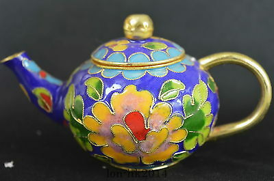 Collect Decorative Cloisonne Handmade Painting Flower Lucky Auspicious Teapot