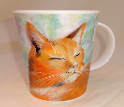 "NEW Dunoon Fine Bone China Mug Cats on Canvas by Judi Trevonan "" Ginger Cat """