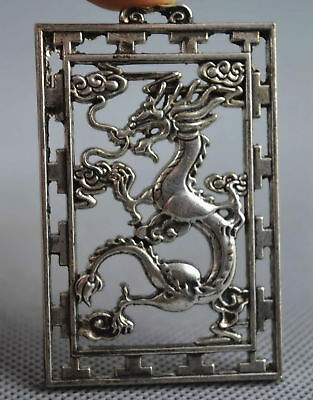 Collectable Handwork Decor Old Miao Silver Carve Travel Dragon Exorcism Pendant