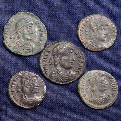 Lot of 5 Late Roman Bronze Coins - #2
