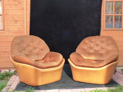 Lovely Pair Of Original Vintage Mid Century Upholstered Button Back Armchairs.