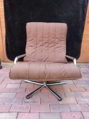 Lovely Vintage Danish Kebe Style Chrome & Fabric Swivel Lounge Chair.