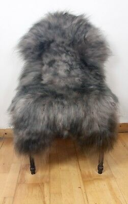 Large Brown/Black Tip on Taupe/Fawn Genuine Icelandic Real Sheepskin Rug NEW