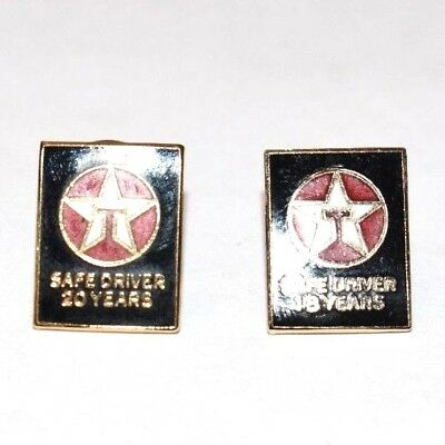 TEXACO Safe Driver Award Pins (2) 18 & 20 Years Texaco Gas Fuel Oil GOLD FILLED