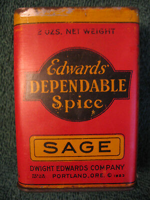 Vintage Edwards' Dependable Spice Tin,sage,red,portland,or,1923