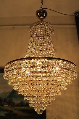 Antique RARE HUGE Austrian Real Swarovski Crystal Chandelier Light 1940's 18 in
