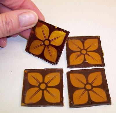 4 Small PAINTED & FIRED Stained Glass SQUARES/CORNERS Tesserae - 35mm